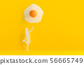 young woman standing holding balloon. 56665749