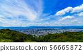 [Sightseeing image of Japan] Scenery overlooking Kyoto city from Higashiyama under the blue summer sky 56665872