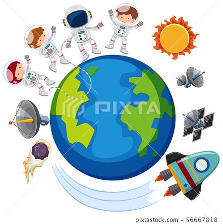 Astronauts and spaceship around the world 56667818