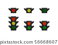 Set of traffic lights for cars and pedestrian. 56668607