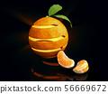 3d Illustration of Orange fruit with orange leaves 56669672