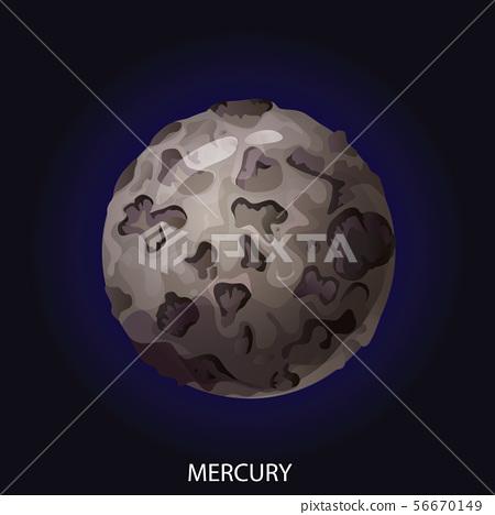 Planet Mercury cartoon vector illustration 56670149