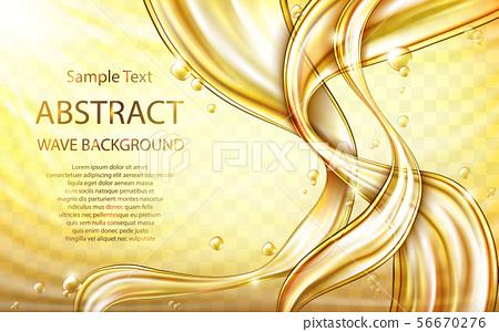 Yellow golden flowing liquid abstract vector 56670276