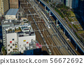 Aerial view of rail tracks in Tokyo, Japan. 56672692