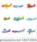 Set of airplanes aircraft different colour. Retro, personal, cargo, speed, biplane, monoplane 56672858