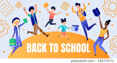 Back to School Banner with Happy People Characters 56674373