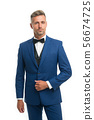 Tailored suit. Menswear concept. Guy well groomed 56674725