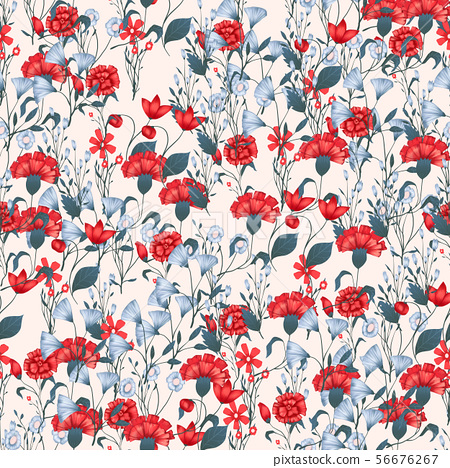 Seamless pattern Vector floral design with roses . Romantic background print 56676267