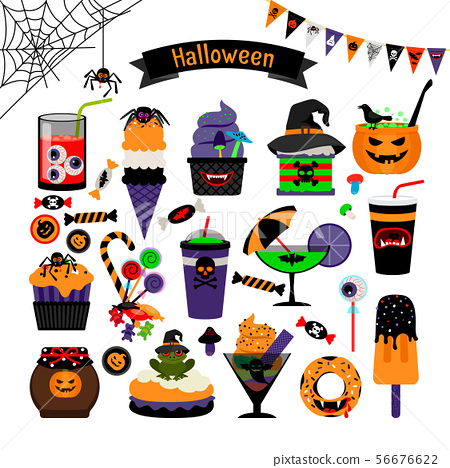 Halloween witchcraft sweets flat icons 56676622