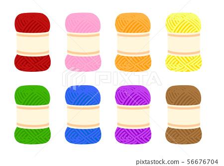 8 colored yarn balls 56676704