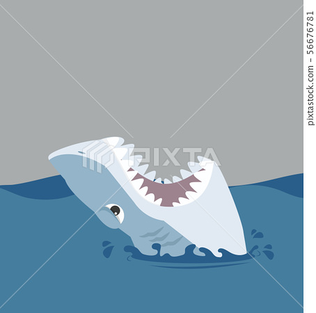 White shark open mouth in the sea 56676781