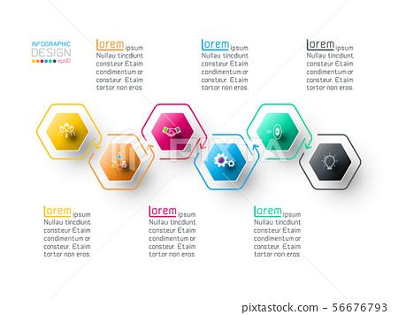 Hexagon inforgraphics on vector graphic art. 56676793