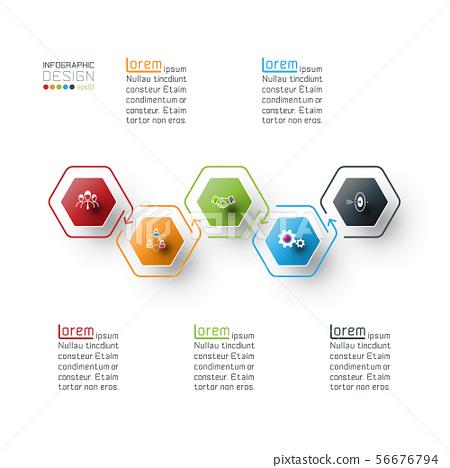Hexagon inforgraphics on vector graphic art. 56676794