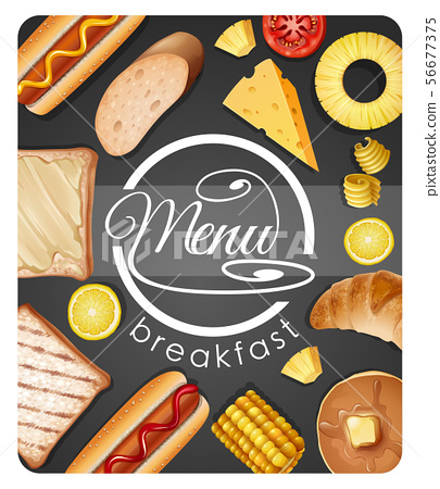 Menu design for breakfast with different food 56677375