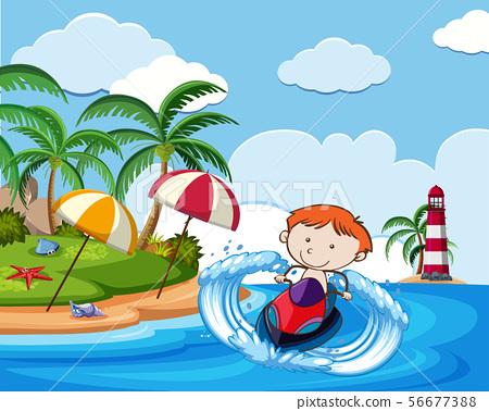 A Boy Riding Jetski on Holiday 56677388