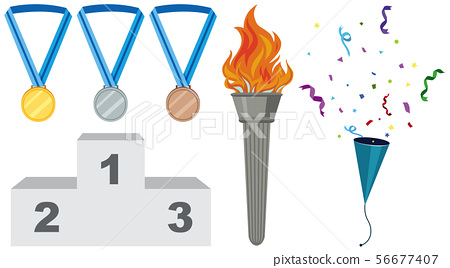 Different types of medals and torch 56677407