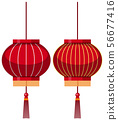 Two designs of chinese lantern in red 56677416