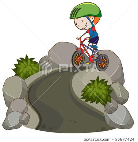 Young Boy Riding Mountain Bike 56677424