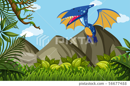 Pterosaur flying over the mountains 56677488
