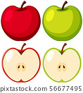Red and green apples on white background 56677495
