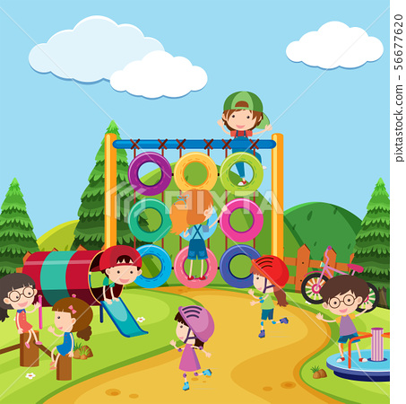 Scene with many kids in playground 56677620