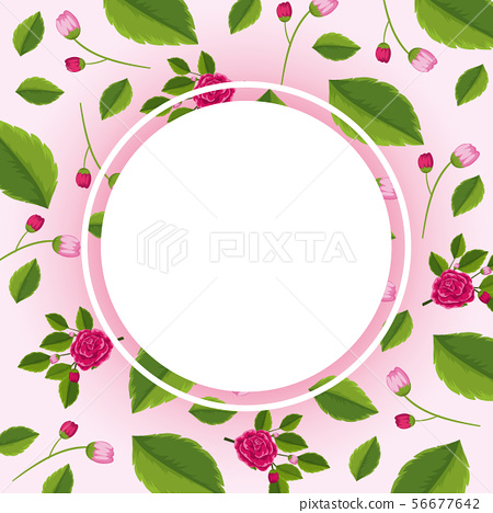 Border template with pink roses 56677642