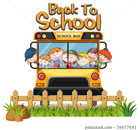 Children in School Bus on White Background 56677691