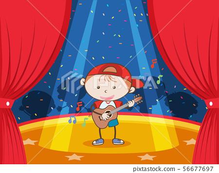 A Guitar Player under Limelight 56677697