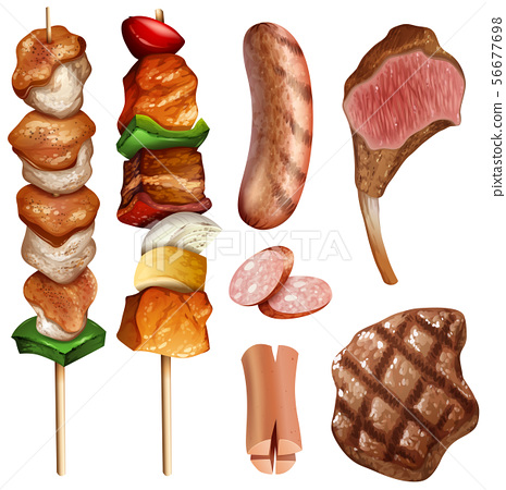Different types of bbq and steaks 56677698