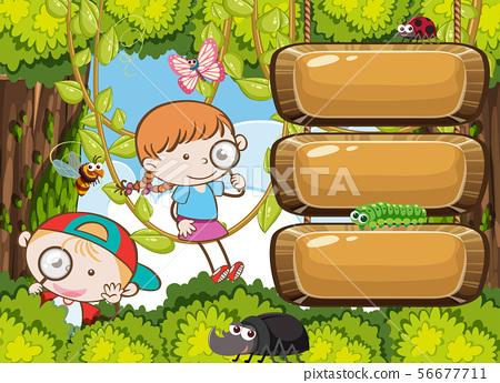 Kids Exploring Rain Forest Banner 56677711