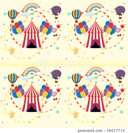 Seamless background with circus tent and balloons 56677714