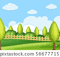 Background scene with green field 56677715
