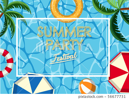 Poster design for summer party with ocean in 56677731