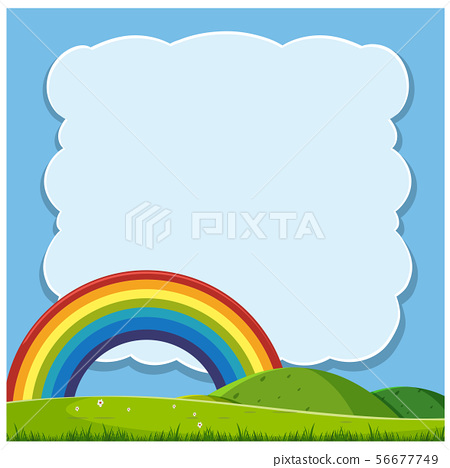Beautiful Hills and Rainbow Template 56677749