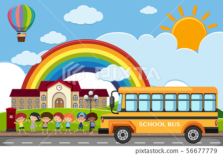 Scene with children and school bus on the road 56677779
