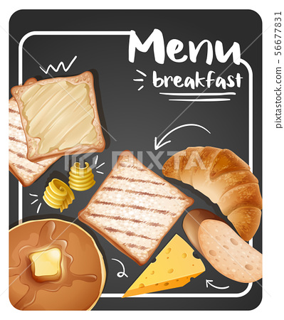 Different menu for breakfast on black background 56677831