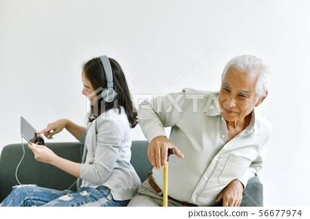 Asian daughter neglect senior father, Elderly. 56677974