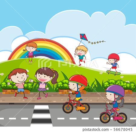 Kids are Playing at Playground 56678045