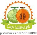 Logo design with fresh cantaloupe 56678099