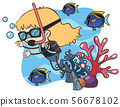 A Girl Scuba Diving underwater 56678102