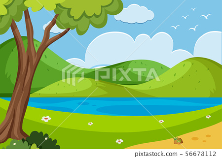 Background scene with river in the park 56678112