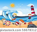 Kids with Beach Activities in Sunny Day 56678312
