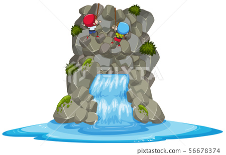 Kids Rock Climbing Over the Waterfall 56678374
