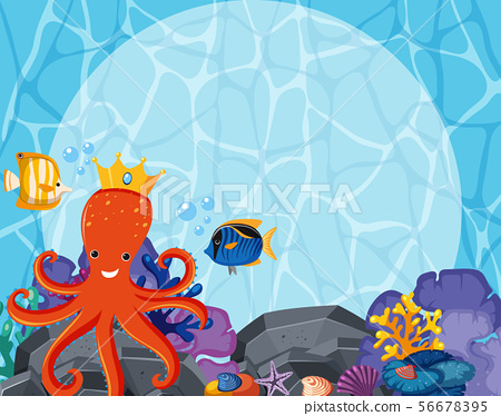 Background design with octopus and fish underwater 56678395