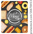Menu design for breakfast with different food 56678453