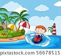 A Boy Riding Jetski on Holiday 56678515