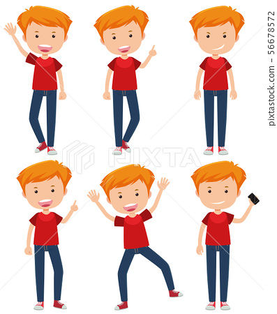 A Set of  Young Boy Gesture 56678572