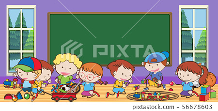 Many children learning in classroom 56678603