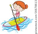 Girl with Stand Up Paddle Board 56678613