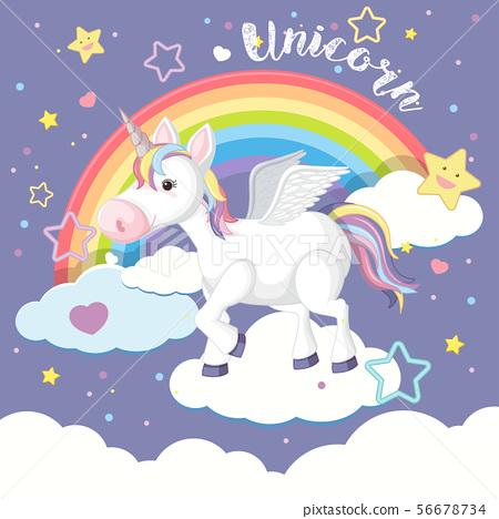Background design with unicorn and rainbow 56678734